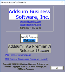 Addsum TAS Premier 7i release 12 about screen
