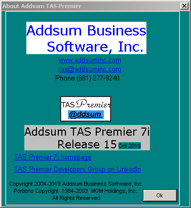 Addsum TAS Premier 7i release 15 about screen